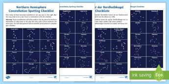 Northern Hemisphere Constellation Spotting Checklist English/German - night sky, stars, space, astronomy