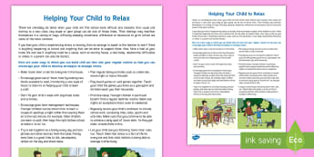 Ideas for Chill Out and Relaxation Parent and Carer Information Sheet - stress, anxiety, after school, homework, family