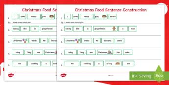 Christmas Food Sentence Construction Activity Sheet - Sentence Building, Sentence Ordering, Syntax, Determiners, Nouns, Verbs, EAL, worksheet