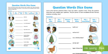 Question Words Dice Game German - German, Question Words, Fragewörter, MFL, Languages, Game, Spiel