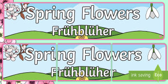 Spring Flowers Display Banner English/German - EAL, Germann, Spring, flowers, british flowers, woods, woodlands, seasons, display, banner,German-tr