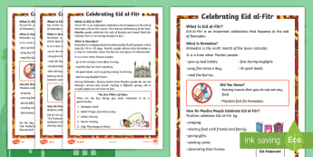 KS1 Eid al-Fitr Differentiated Fact File - islam, muslim, festival, ramadan, fasting, events, world