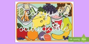 Póster DIN A4: Desayuno saludable - comida saludable, comida, desayuno, saludable, sano, sana, vida, comer, desayunar, póster, DIN A4,