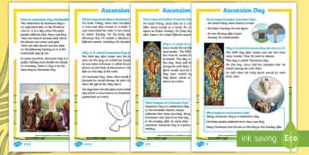 KS1 Ascension Day Differentiated Fact File - KS1, Key Stage One, Year 1, Year 2, Year One, Year Two, Ascension day, (25.5.17), Jesus, Easter, Goo