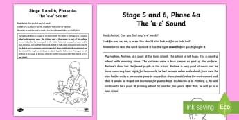 Northern Ireland Linguistic Phonics Stage 5 and 6 Phase 4a 'u-e' Sound Worksheet / Activity Sheet  - Worksheet, sound, sound search, text, oo