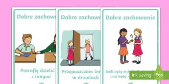 Plakaty Dobre zachowanie - plakat, plakaty, zachowanie, wychowanie, zasady, wychowawcza, lekcja, wychowawcze, dzielenie się, p