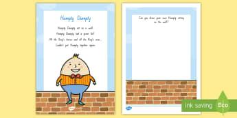Humpty Dumpty Activity Sheet - NZ Literacy Resources, Year 1-3, nursery rhymes, New Zealand, activity, activities, worksheet, readi