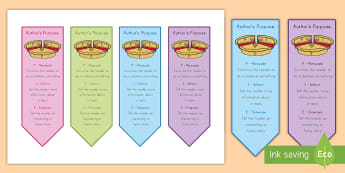 Author's Purpose PIE Bookmarks - Author's Purpose, Bookmark, Persuade, Inform, Entertain