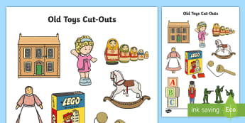 Old Toys Cut-Outs - old toys, cut out, display, toys, role-play