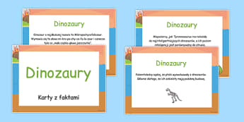 Karty z faktami Dinozaury po polsku - biologia, podstawówka