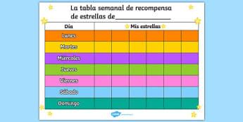 La tabla semanal de recompensa de estrellas de Star 7 Day Reward Chart Spanish - spanish, star, reward chart, reward, chart, awards, award chart, behaviour management, class management, weekly chart, themed reward chart