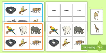 Zoo Animals Matching Cards and Boards Game - EYFS, Early Years, KS1, The Zoo, animals, matching game, turn taking, picture matching.