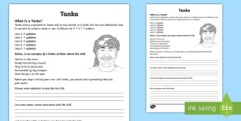 UAE Tanka Poem Writing Template - UAE, tanka, Poem, Template, Rhyme