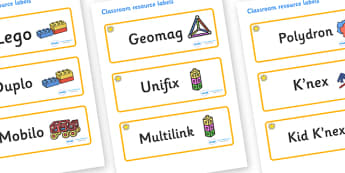 Sunshine Themed Editable Construction Area Resource Labels - Themed Construction resource labels, Label template, Resource Label, Name Labels, Editable Labels, Drawer Labels, KS1 Labels, Foundation Labels, Foundation Stage Labels