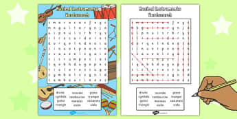 Musical Instrument Wordsearch - musical, instrument, wordsearch