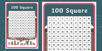 Ten Little Lights 100 Number Square - Twinkl Originals, Fiction, Christmas, Winter, Snow, Cold, KS1, Maths, Number