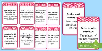 Māori Aroha Whakatauki Flashcards Te Reo Maori/English - Māori Phrase Book, love, aroha, whakatauki, proverbs