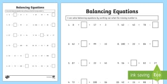 Balance Equations Using Missing Numbers Activity Sheet - Solve, balance, equation, work out, missing number, addition, subtraction, worksheet, mystery number