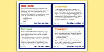 Space Themed Science Challenge Cards KS2 - space, science, KS2