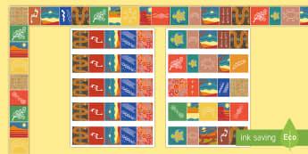 Aboriginal Art Display Borders - Australian Aboriginal Artwork, Indigenous, symbols, painting, drawing, Australia