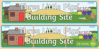 Three Little Pigs Building Site Display Banner  - Three Little Pigs, role-play, banner, display