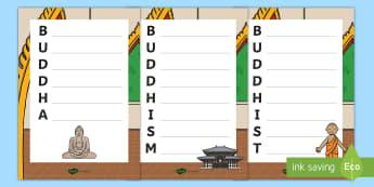KS1 Buddhist Acrostic Poem Writing Templates - Buddha, Buddhist, Activity, Poem, Poetry