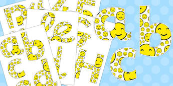 Smiley Face Display Lettering - smiley face, display lettering, display