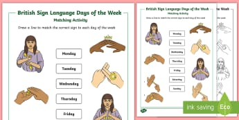British Sign Language Days of the Week Matching  - British Sign language Days of the Week Display Posters - BSL, deaf, hearing, weeks, days of the week