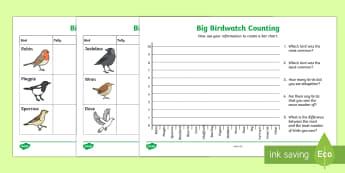 Bird Counting Worksheet / Activity Sheets - KS1 & 2  Big  Birdwatch (3 Jan-17 Feb 2017), RSPB, school, bird, bird watch, bar chart, data, data h