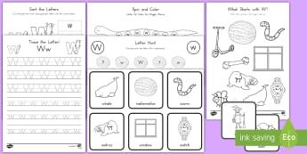 Letter W Activity Pack - Alphabet Packets, EYFS, KS1, PreK, Kindergarten, Letter Formation, Letter Identification, Beginning