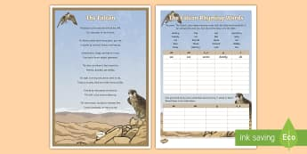 Falcon Poem Rhyming Words Activity Sheet - Science: Living World, falcon, poem, English, Literacy, poster, display, rhyme, worksheet, UAE, midd