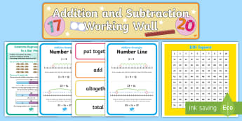 KS1 Addition and Subtraction Working Wall Display Pack - classroom display, maths display, posters, addition strategy, strategies, subtraction strategies, st