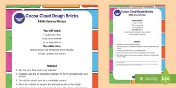Cocoa Cloud Dough Bricks Edible Sensory Recipe - EYFS Houses and Homes, my environment, edible sensory, bricks, builders, building site