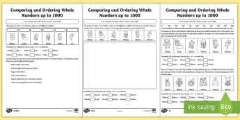 Comparing and Ordering Whole Numbers up to 1000 Differentiated Activity Sheets - compare, biggest, bigger than, smaller than, smallest, largest, more than, less than, greater than,