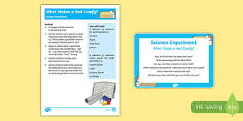 EYFS What Makes a Bed Comfy? Science Experiment and Prompt Card Pack