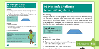 KS1 P.E Mat Raft Challenge Activity Sheet - challenge, solve, team work, cooperate, problem, worksheet