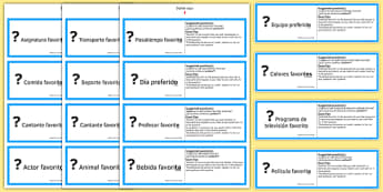 GCSE Spanish Asking Questions Favourite Things Practice Cards - spanish, asking questions, preguntas, practice, speaking, cards, favourite, GCSE Spanish