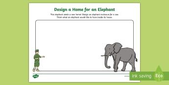 Design a Home for an Elephant Activity Sheet  - dublin zoo, elephant, home, zoo, news, habitat, design , worksheet, activity sheet, design, create,