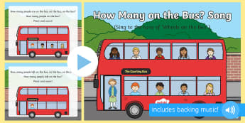 How Many on the Bus Song PowerPoint - bus, wheels on the bus, counting, subtraction, take away, missing, singing, action rhymes, early mat