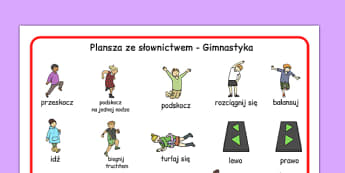 Plansza ze słownictwem Gimnastyka po polsku - wf