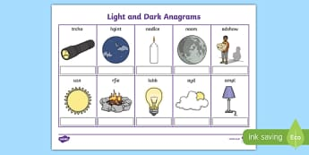 Light and Dark Anagrams Worksheet / Activity Sheet, worksheet
