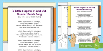 5 Little Fingers In and Out Number Bonds Song - early concepts, counting, singing, song time, maths, number song.