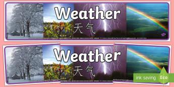 Weather Photo Display Banner - English/Mandarin Chinese - Weather Photo Display Banner - weather, photo display banner, photo banner, display banner, banner,
