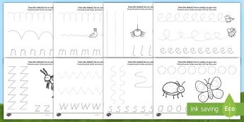 Minibeast Theme Pencil Control Activity Sheets English/Romanian - Minibeast Theme Pencil Control Worksheets - EAL, worksheet, pencil control worksheets, pencil contro