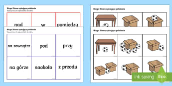 Bingo Słowa opisujące położenie - części, mowy, polski, gramatyka, przyimki, przyimek, język, Polish
