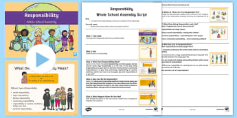 Whole School Responsibility Assembly Pack - Responsible, Ownership, Duty, Accountable, Values