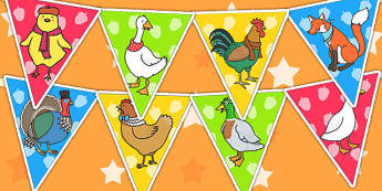 Chicken Licken Bunting - stories, story books display, bunting