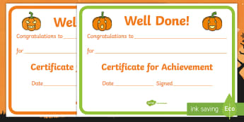 Pumpkin-Themed Certificate - Halloween, Bonfire Night, Autumn, Fall, Warm, Award, Reward, Achievement