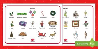 Vocabulário ilustrado de Natal  - natal, natais, celebraçao, festa, natividade, solsticio de inverno, inverno, pai natal, papai noel,
