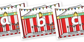 Phoneme Set on Fairground Coconut Stands - Phoneme set, phonemes, phoneme, Letters and Sounds, DfES, display, Phase 1, Phase 2, Phase 3, Phase 5, Foundation, Literacy